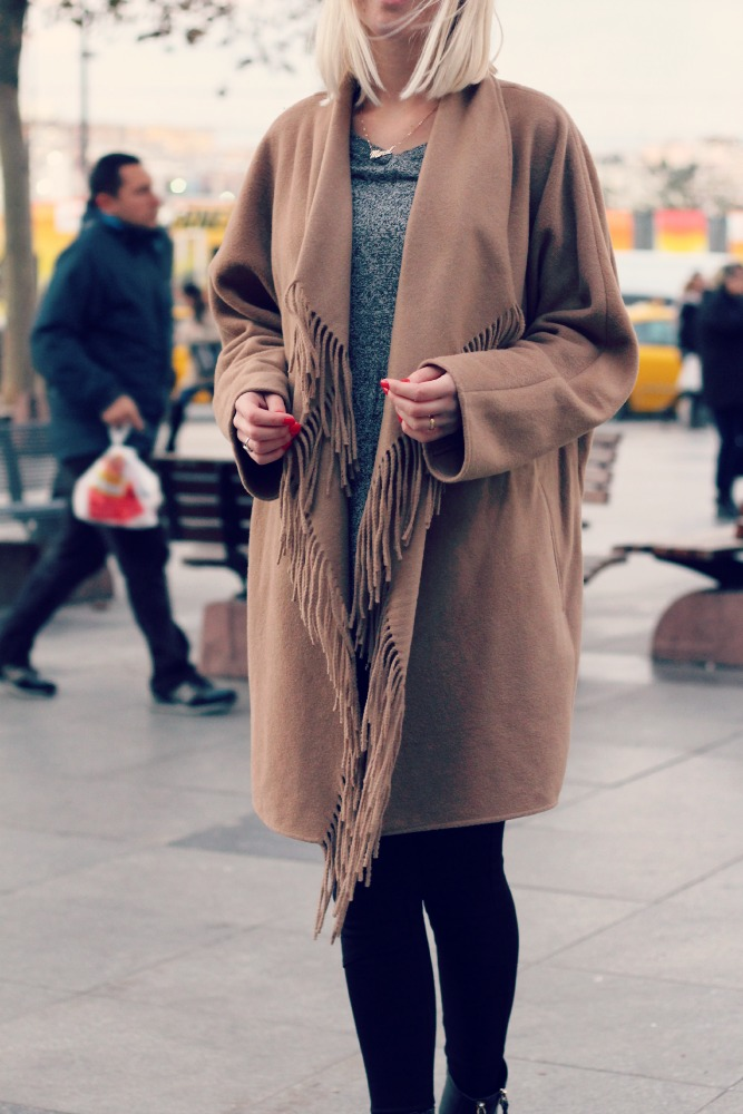 H&M fringed coat